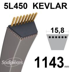 Courroie tondeuse 5L45 Kevlar Trapézoïdale. 15,8 mm x 1143 mm.