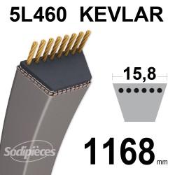 Courroie tondeuse 5L46 Kevlar Trapézoïdale. 15,8 mm x 1168 mm.