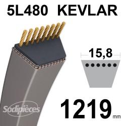 Courroie tondeuse 5L48 Kevlar Trapézoïdale. 15,8 mm x 1219 mm.