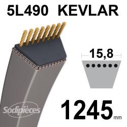 Courroie tondeuse 5L49 Kevlar Trapézoïdale. 15,8 mm x 1245 mm.