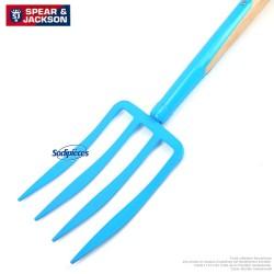 Fourche à bêcher Spear & Jackson avec manche bois. Bleue