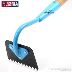 Binette dentelée Spear & Jackson avec manche bois. Bleue