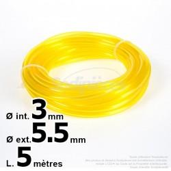 Durite essence caoutchouc 2,5 x 5,5 mm. 5 mètres