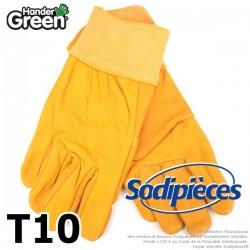 Gants jaune. Cuir et jardin. HanderGreen® T10