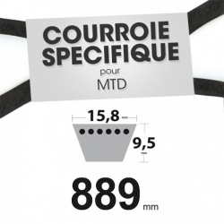 Courroie spécifique MTD 7540241A. 15,8 mm x 895 mm.