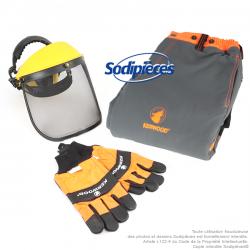 Kit : Casque visière + gants + pantalon anti-coupure