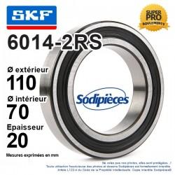 Roulement à billes 6014-2RS SKF. Double étanchéité