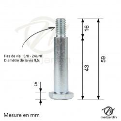 Axe de roue Ø 12,7 x 38,1 mm