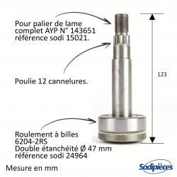 Arbre de palier pour AYP N° 137553. Husqvarna N° 5321375-53