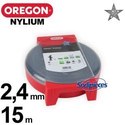 Fil Orégon Nylium étoilé. 2,4 mm x 15 m pour débroussailleuse