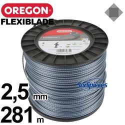 Fil Orégon FlexiBlade® carré. 2,5 mm x 281 m pour débroussailleuse