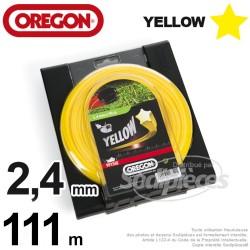 Fil Orégon Yellow étoilé jaune. 2,4 mm x 111 m pour débroussailleuse