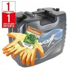 1 bidon huile chaîne Drip72 - ISO 150, 20 litres + 1 paire de gants Travaux Délicat HanderGreen OFFERTE