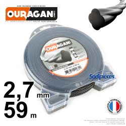 Fil débroussailleuse Ouragan 2,7 mm x 59 m. Coque. Spirale