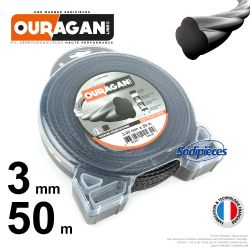 Fil débroussailleuse Ouragan 3 mm x 50 m. Coque. Spirale