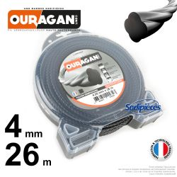 Fil débroussailleuse Ouragan 4 mm x 26 m. Coque. Spirale