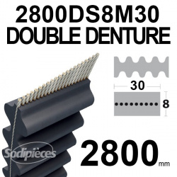 Courroie 2600DS8M20 Double denture. 20 mm x 2600 mm.