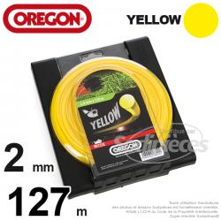 Fil Orégon Yellow rond jaune. 2 mm x 130 m pour débroussailleuse