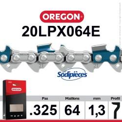 """Chaîne 20LPX064E OREGON Super 20 .325"""". 1,3mm. 64 maillons"""