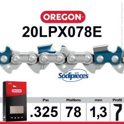 """Chaîne 20LPX078E OREGON Super 20 .325"""". 1,3mm. 78 maillons"""