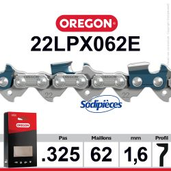 """Chaîne 22LPX062E OREGON Super 20. 325"""". 1,6mm. 62 maillons"""