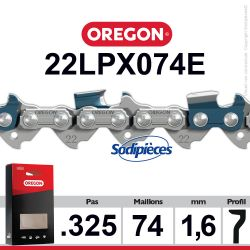 """Chaîne 22LPX074E OREGON Super 20. 325"""". 1,6mm. 74 maillons"""