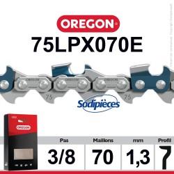 """Chaîne 72LPX070E OREGON Super 70. 3/8"""". 1,3mm. 70 maillons"""